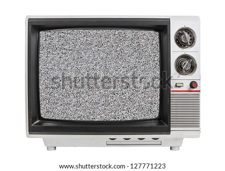 Grungy vintage portable television isolated with static screen and clipping path.