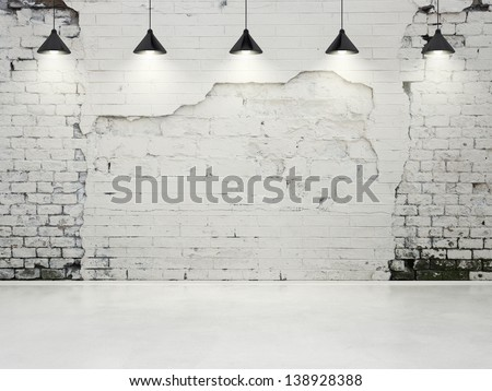 grungy wall with lamps - stock photo