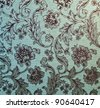 Grungy wallpaper texture with curved asian roses - stock photo