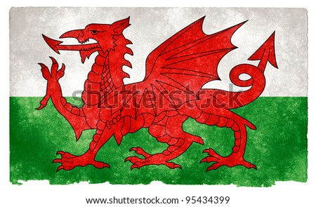 Grungy Welsh Flag on Vintage Paper - stock photo