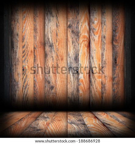 grungy wood surfaces on wall and floor, architectural abstract interior backdrop
