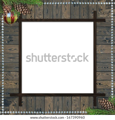 grungy wooden Christmas frame - stock photo