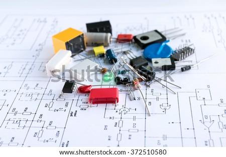 Grup of resistors isolated on white background. - stock photo