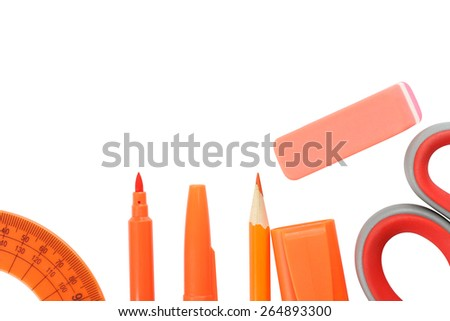 grupa school supplies orange color - stock photo
