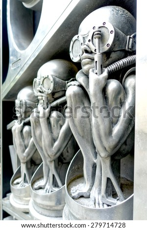 """GRUYERES, SWITZERLAND - MAY 15:  H.R. Giger's Museum entrance pictured on May 15, 2015, in Gruyeres, Switzerland. HR Giger was the Swiss artist who designed the aliens in the """"Alien"""" movie sequel.  - stock photo"""