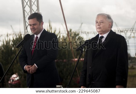 GRYFINO, POLAND - MAY 14, 2014: Adam Hofman,  spokesperson of parliamentary caucus of the main opposition, conservative party Law and Justice (PiS) and Jaroslaw Kaczynski, during press conference.