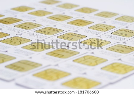 GSM 3G SIM-cards for mobile over white background - stock photo