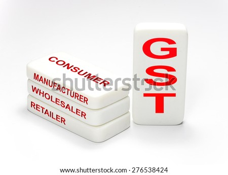 Gst concept in rectangle cubes on white background  - stock photo