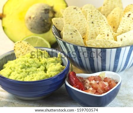 Guacamole and nachos. - stock photo