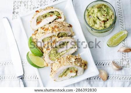 guacamole stuffed crumbs lime chicken. the toning. selective focuscrumbs - stock photo