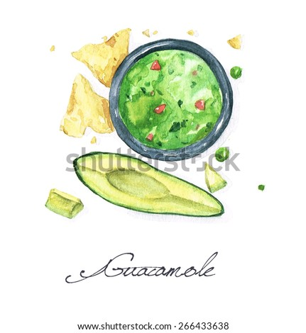 Guacamole - Watercolor Food Collection - stock photo