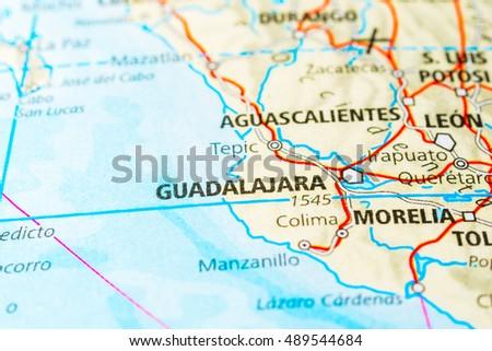 Guadalajara Mexico Map View Stock Photo 489544684 Shutterstock