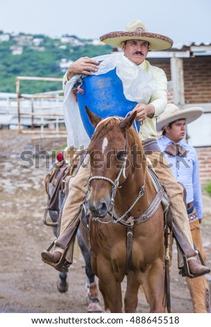 Young Woman Riding Horse Pole Bending Stock Photo 58460305