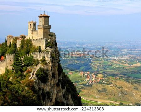 Guaita Fortress in San Marino. - stock photo