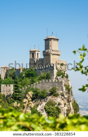 Guaita, the oldest of the three towers in San Marino - stock photo