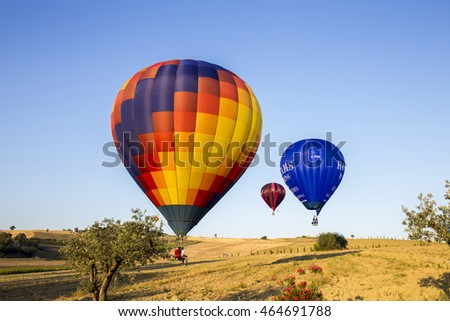 GUALDO CATTANEO, ITALY - JULY 31, 2016: Sagrantino International Challenge Cup. Colorful hot air balloons flying in the sky.