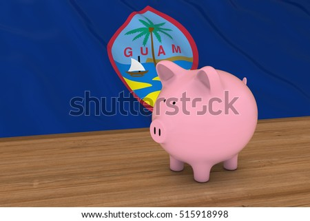 Guam Finance Concept - Piggybank in front of Guamanian Flag 3D Illustration
