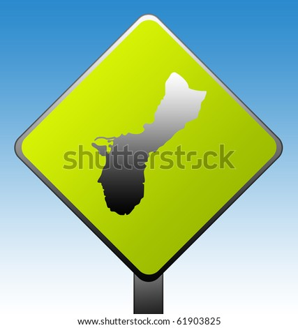 Guam green diamond shaped road sign with gradient blue sky background.