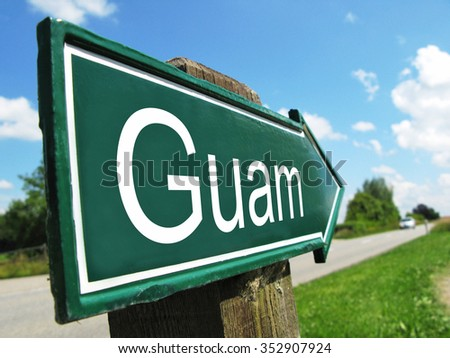 Guam signpost along a rural road