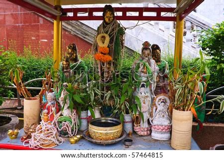 Guan Yin altar table - stock photo