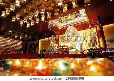 Guan Yin in Buddha Tooth Relic temple, Singapore - stock photo