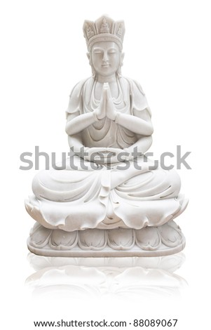 Guan Yin on a white background, isolated - stock photo