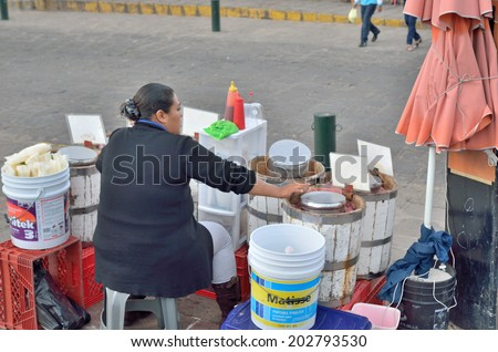 GUANAJUATO, MEXICO - NOVEMBER 2, 2013: Street shop or food booth in the UNESCO World Heritage city of Guanajuato.