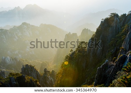 Guangmingding peak of Huangshan mountain, China.