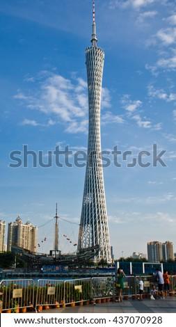 Guangzhou, August, 2014--Guangzhou tower under construction with blue sky in Guangzhou city. - stock photo