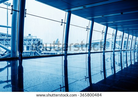 Guangzhou Baiyun Airport corridor, modern building interior. - stock photo