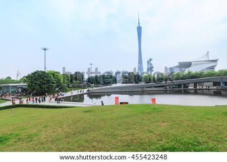 GUANGZHOU, CHINA - APR 8. The Guangzhou Tower (600 m) on Apr. 8, 2016 in Guangzhou. located at new city axis intersection - stock photo
