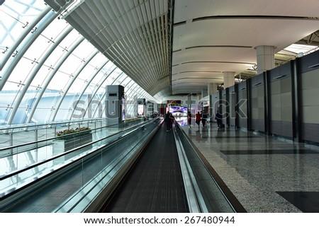 GUANGZHOU, CHINA - DEC 03: Baiyun International Airport departure terminal on Dec 03, 2014 in Guangzhou, China. - stock photo