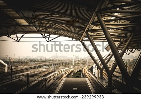 Guangzhou,China - DEC 12:Guangzhou South Railway Station on Dec 12, 2014 in Guangzhou. This is a High-speed rail station.