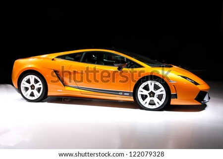 GUANGZHOU, CHINA - DEC 1:LAMBORGHINI Gallardo LP 570-4 Super Trofeo Stradale car on display at the 10th China(Guangzhou) International Automobile Exhibition. on Dec 1, 2012 in Guangzhou China. - stock photo