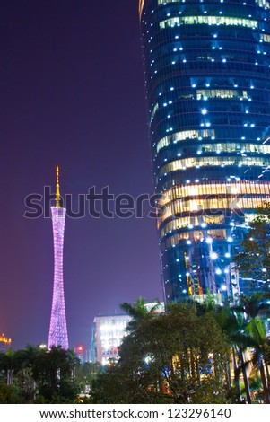 GUANGZHOU, CHINA - DEC 18. The Guangzhou Tower (600 m) on Dec. 18, 2012 in Guangzhou. It is a TV tower,The China's first tower. located at new city axis intersection
