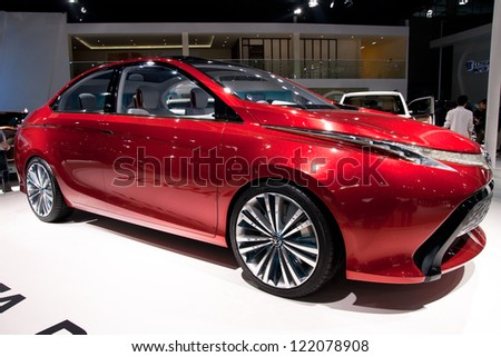 GUANGZHOU, CHINA - DEC 1:Toyota dear car on display at the 10th China(Guangzhou) International Automobile Exhibition. on Dec 1, 2012 in Guangzhou China. - stock photo