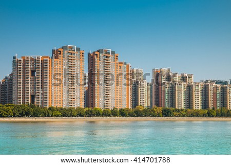 GUANGZHOU,CHINA - JAN 2:New residential building on Jan 2, 2015 in Guangzhou. Guangzhou is one of the China most expensive residential property markets. - stock photo