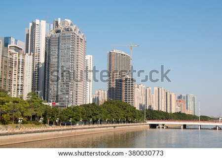 Guangzhou, China - January 25, 2016: cityscape with skyscrapers and business centers in Guangzhou. Guangzhou is one of the important economic cities in China