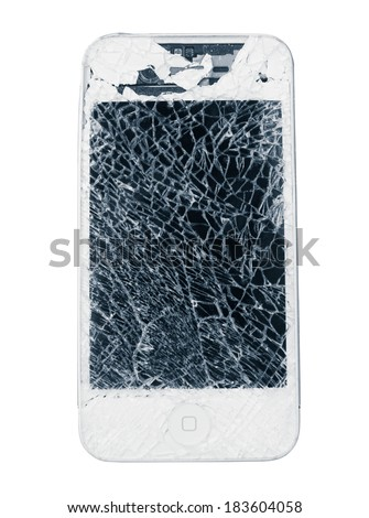 GuangZhou, China - March 25, 2014: Photo of a broken  iPhone 4. iPhone 4 is a smartphone developed by Apple Inc. It is part of the iPhone line. iPhone is world favorite smartphone.  - stock photo