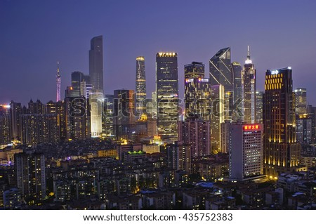 Guangzhou, China-May. 11, 2016: Skyline of Guangzhou CBD. Most skyscrapers built in the Zhujiang New Town.