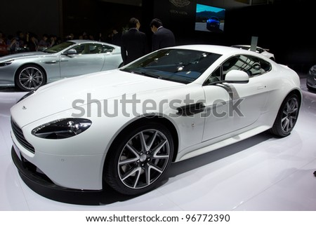 GUANGZHOU, CHINA - NOV 26: Aston Martin Vantage car on display at the 9th China international automobile exhibition. on November 26, 2011 in Guangzhou China.