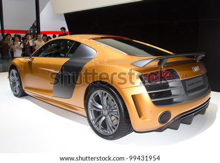 GUANGZHOU, CHINA - NOV 26: Audi R8 Limited Edition car on display at the 9th China international automobile exhibition on November 26, 2011 in Guangzhou China. - stock photo