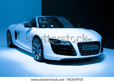 GUANGZHOU, CHINA - NOV 26: Audi R8 Spyder sports car on display at the 9th China international automobile exhibition. on November 26, 2011 in Guangzhou China. - stock photo