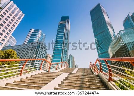 GUANGZHOU, CHINA - NOV 26.:CBD modern skyscrapers in Guangzhou on Nov 26, 2015. Guangzhou is one of the major economic cities in China - stock photo