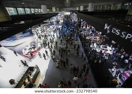 GUANGZHOU, CHINA - NOV. 20. 2014: General view on the 12th China International Automobile Exhibition in Guangzhou, Guangdong province. - stock photo