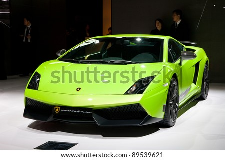 GUANGZHOU, CHINA - NOV 25: Lamborghini green sport car on The 9th China(Guangzhou) International Automobile Exhibition. on November 25, 2011 in Guangzhou China. - stock photo