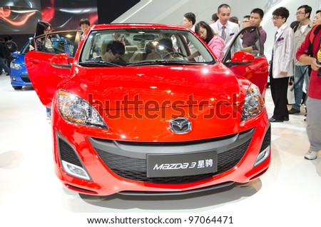 GUANGZHOU, CHINA - NOV 26:  Mazda 3 car on display at the 9th China international automobile exhibition. on November 26, 2011 in Guangzhou China.
