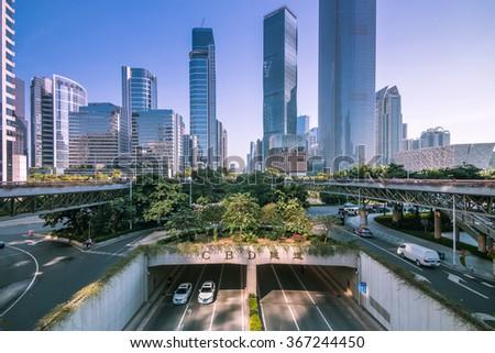 GUANGZHOU, CHINA - NOV 26: Urban Transport in Guangzhou on Nov 26, 2015. Guangzhou is one of the major economic cities in China - stock photo