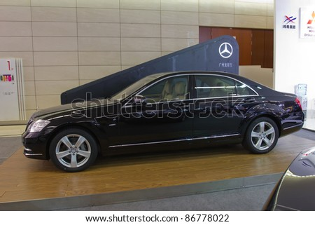 GUANGZHOU CHINA- OCT 2: Mercedes-Benz E300l car on display at the Guangzhou Daily Baiyun International automobile exhibition on October 2,2011 in Guangzhou China.