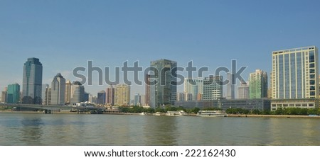 GUANGZHOU, CHINA, OCTOBER 2, 2013: View over skyline of guangzhou taken during one sunny day in october.